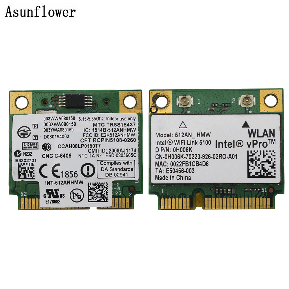 Wireless Card 512AN_HMW For Intel WiFi Link 5100 MINI PCI-E Card Wlan Adapter Laptop Network 2.4G/5Ghz For Dell