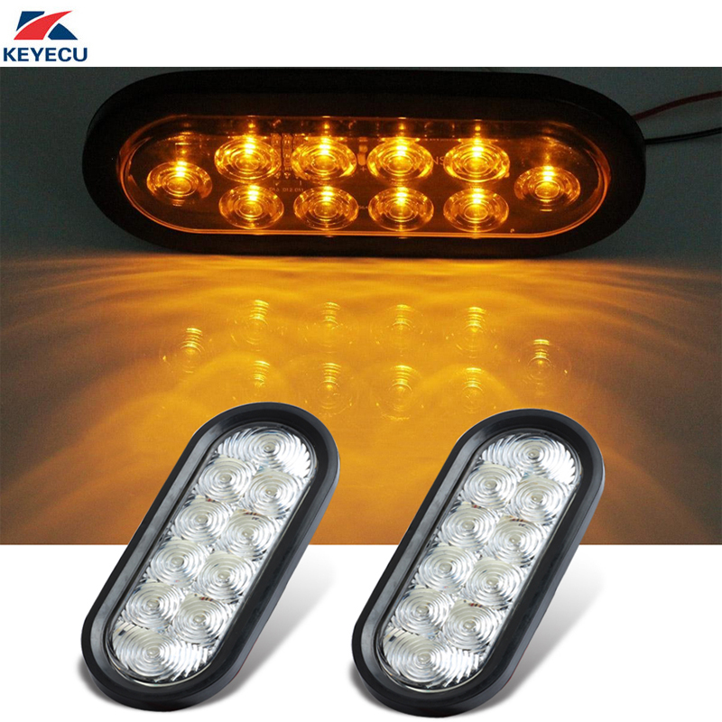 KEYECU 2X White Lens Amber 10 LED Truck Trailer Trail Bus 6 Side Marker Stop Brake Marker Tail LED Lights 12V