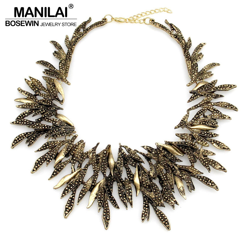 MANILAI Fashion necklaces for women 2017 Retro Leaf Geometric Choker Vintage Collar Bib Statement Necklaces Cluster Jewelry