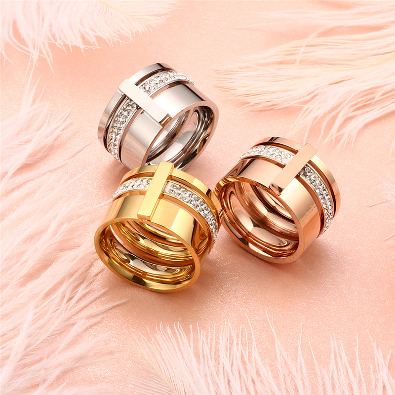 Rustfritt stål Rose Gold Rings for Woman Menn Stones og krystaller - Mote smykker - Bilde 5