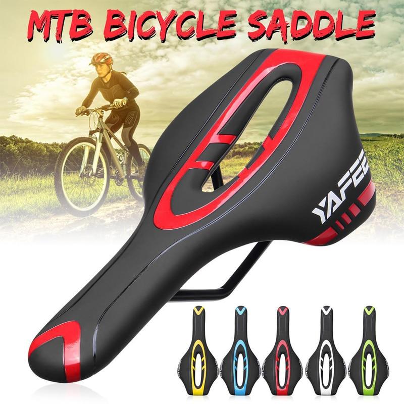Road Bike Hollow Saddle MTB Bike Racing Saddle PU Leather Soft Seat Cushion