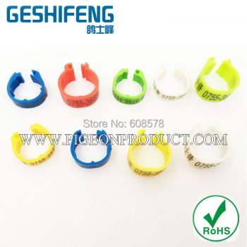 free shipping 2015colorful small size plastic clip bird ring and pigeon foot ing