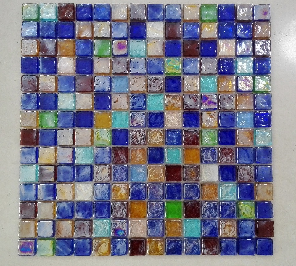 Rainbow Color Stained Gl Mosaic Tile
