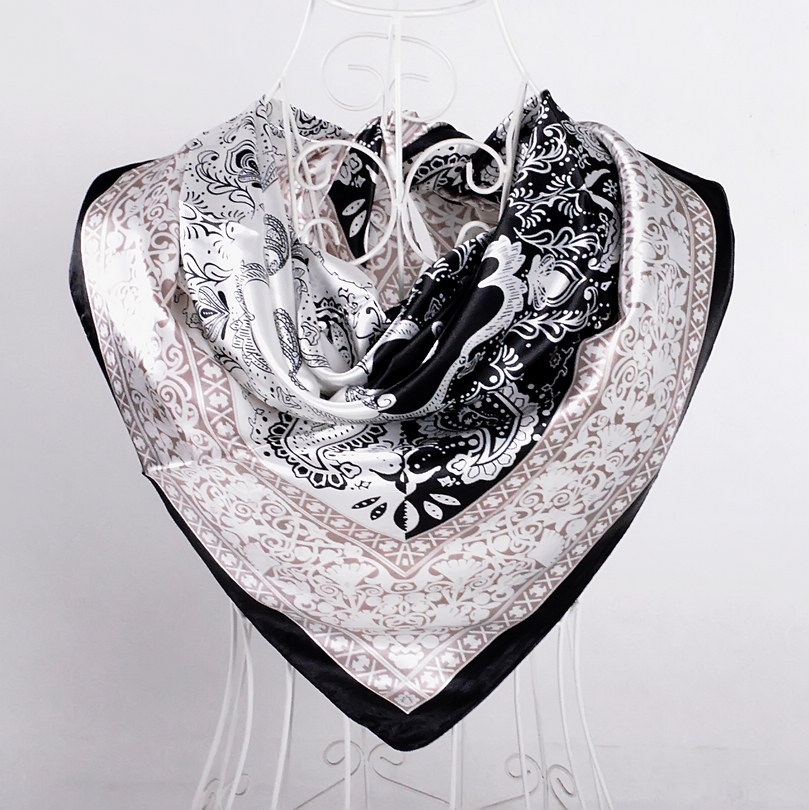 Дизайн женский Шелковый большой квадратный шелковый шарф из полиэстера, 90*90 см горячая Распродажа атласный шарф с принтом для весны, лета, осени, зимы - Цвет: black white 512
