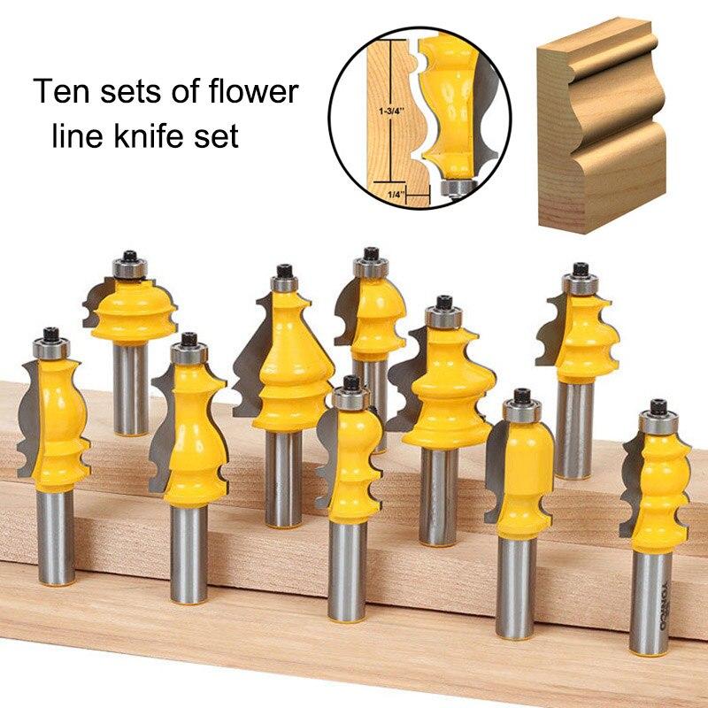 10 Pcs Grinding Bits Alloy Architectural Molding Router Bit Set 1/2 Inch Shank for Woodworking ALI88 все цены