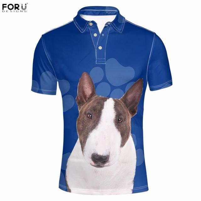 FORUDESIGNS Cute 3D Animal Bull Terrier Dog/Puppy Printing Men  Shirts Fashion Brand Summer Short Sleeve Clothes Funny Shirt