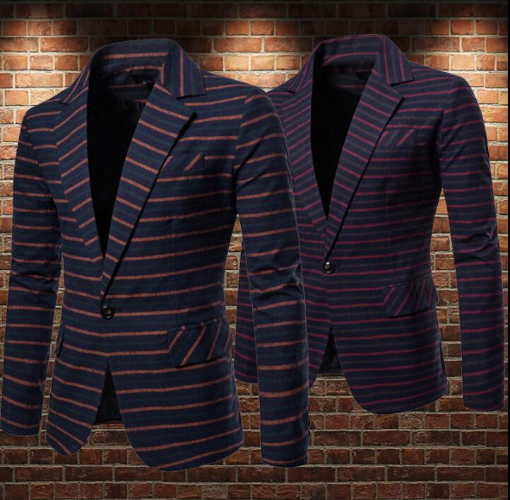 Striped print suits men blazer masculino slim fit casaco jaqueta masculina A buckle Business coats mens loose jacket clothes in Blazers from Men 39 s Clothing