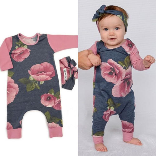 Toddler Baby Kids Girls Flower Print Romper Outfits Set Cotton Clothes