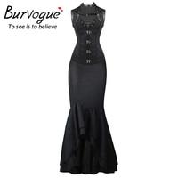 Burvogue Steampunk Corset And Long Skirts Sets Waist Control Corsets Dress Mermaid Dress Fashion Steampunk Corset