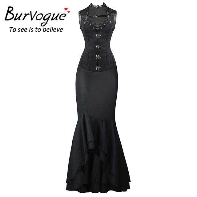 Burvogue Steampunk Corset and Long Skirts Sets Waist Control Corsets ...