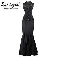 Burvogue Steampunk Corset and Long Skirts Sets Waist Control Corsets Dress & Mermaid Dress Fashion Steampunk Corset Dress