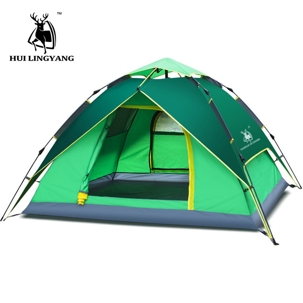 Hydraulic Automatic Windproof Waterproof Double Layer Tent 3-4 person Tents Ultralight Outdoor Hiking Camping Tent Picnic Tents 3 4 person windproof waterproof anti uv double layer tent ultralight outdoor hiking camping tent picnic tent with carrying bag