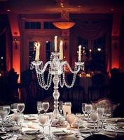 Большой chrome 5 arm лампы для подсвечника Ресторан crystal настольная лампа стеклянный канделябр Свадебная вечеринка столовая светодио дный подсв