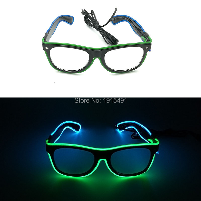 Cheap!New Type Halloween decor Blinking EL wire Eyeglasses Birthday Gift Sound Activated LED Neon Eyewear for Holiday Supplies