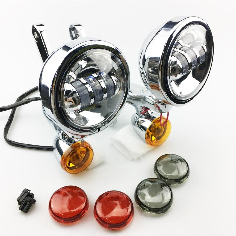 Auxiliaire Supports D'éclairage brouillard lumière avec clignotants Pour harley Auxiliaire lampes Street Glide FLHX Electra Glide 06-18
