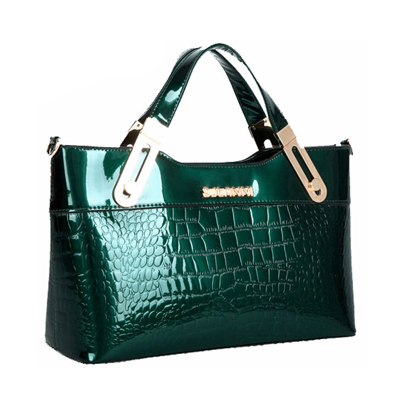 ФОТО Brand Fashion Alligator Women Handbags Women's Patent Leather Totes High Quality Crocodile Shoulder Bags Ladies Office Bags S62