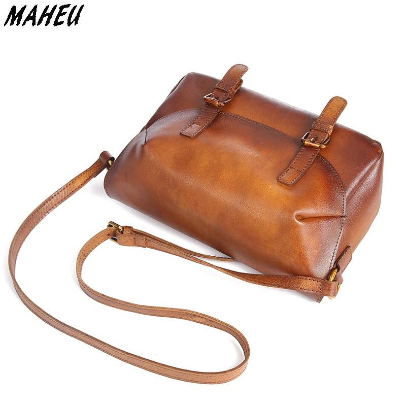 цены на Women Genuine Leather Shoulder Bag Vintage Oil Wax Cowhide Female Crossbody Messenger Bag Casual Mini Travel Bags Flap Bags в интернет-магазинах