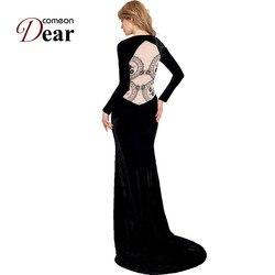 Coméonchère conception spéciale grande taille dames été 2017 robes de fête élégantes longue robe RB70214 mode à manches longues Maxi robe