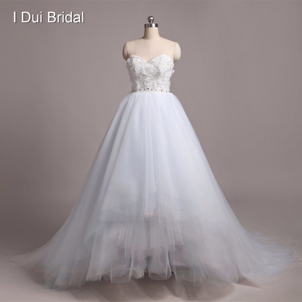 Light Blue Wedding Dresses Custom Make High Quality Strapless Colored Tulle Layer Real Image Ball Gown