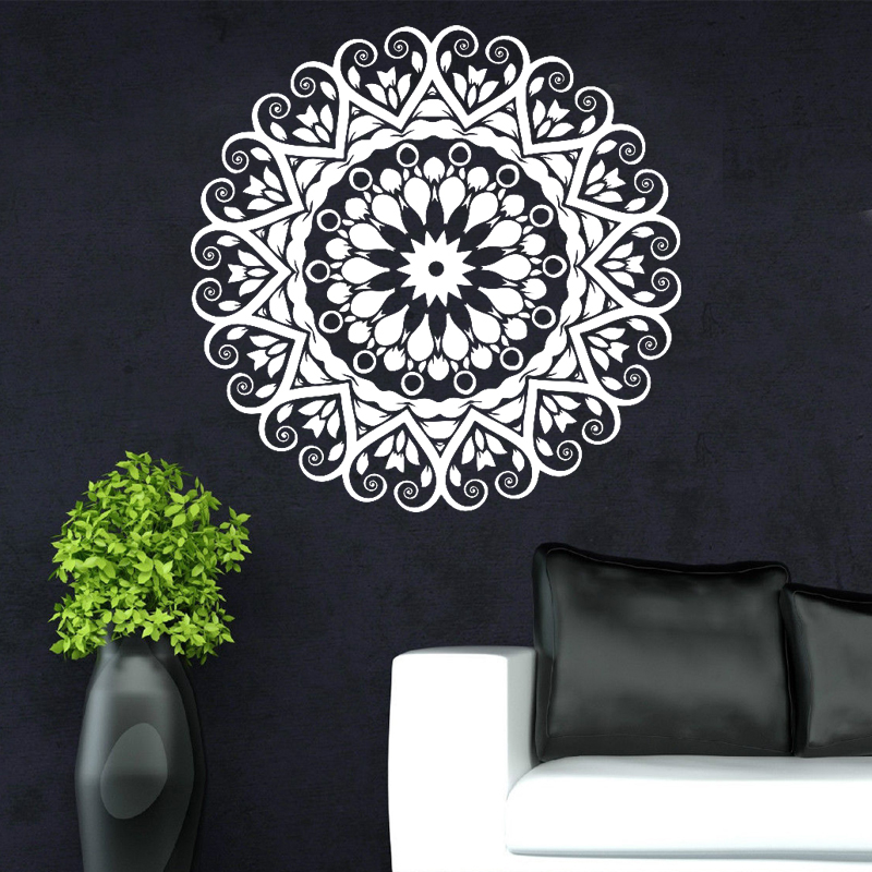 New year 2017 home decoration indian round mandala yoga for Mural mandala