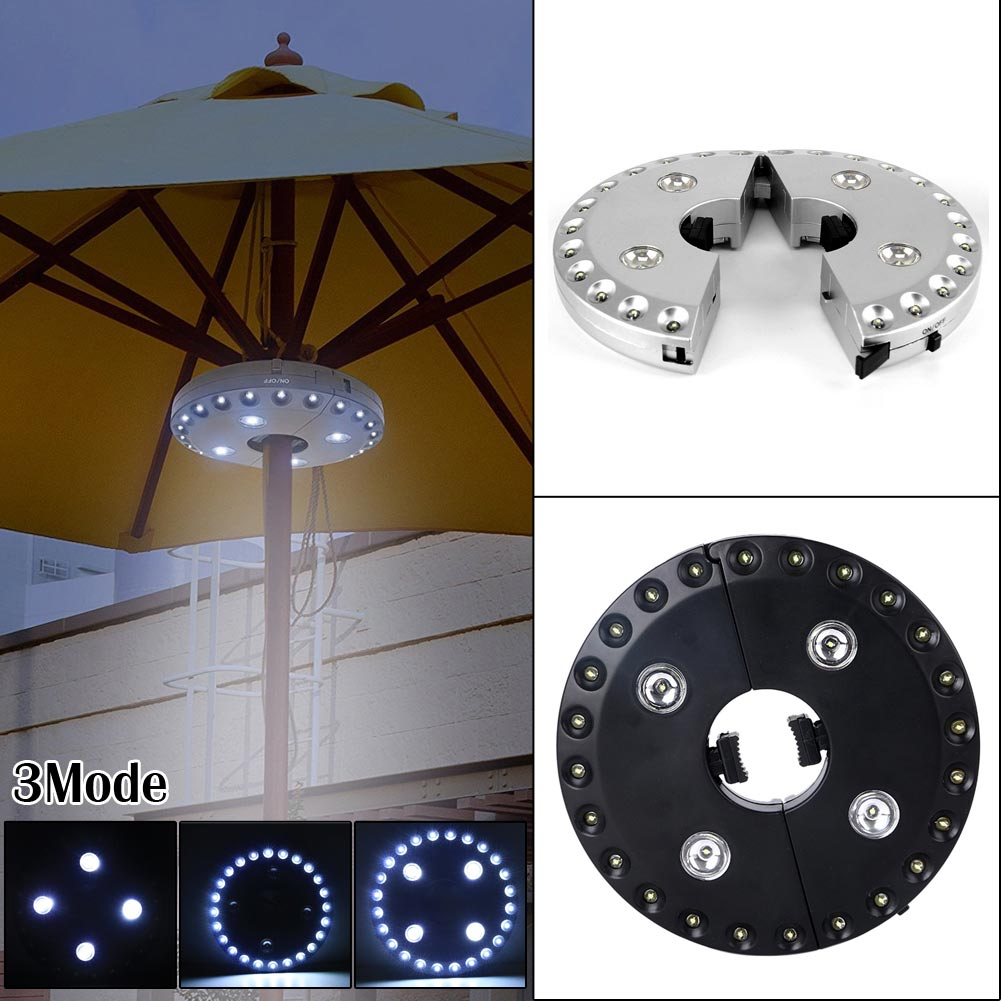 Outdoor Garden Umbrella Pole Light Black/White Cordless 28LED  Patio Umbrella Pole Light Camping Tent Lamp Yard Lawn Night Light