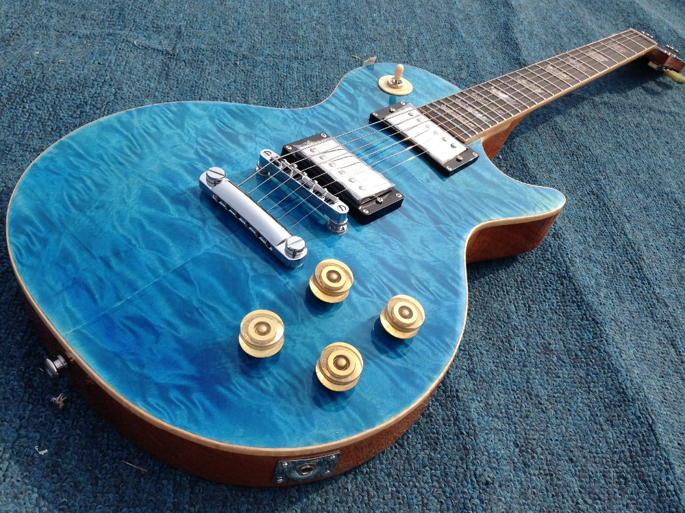 Free Shipping AAAAA quilted Maple top Seafoam Blue Standard LP electric guitar Guitarra all color Accept free shipping blue flamed maple top private stock prs electric guitar