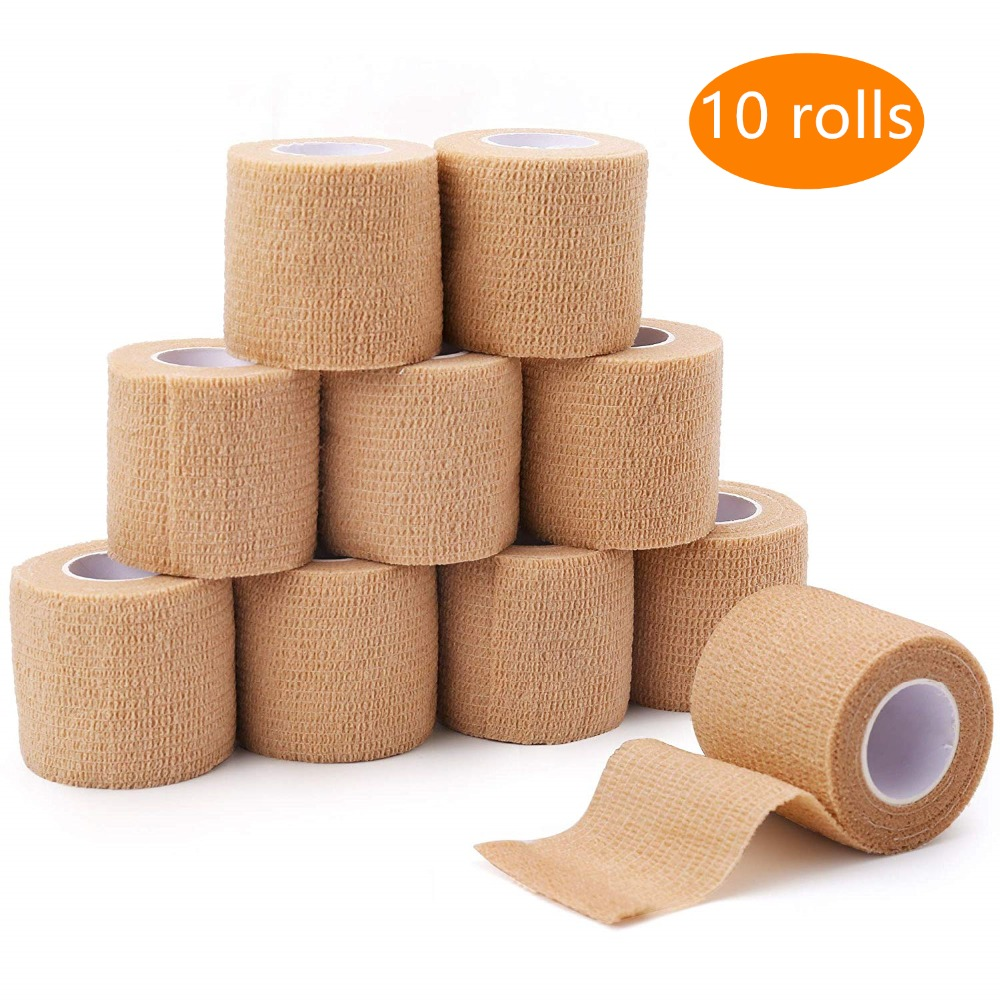 10 Rolls 5cm Width Family Use Elastoplast Self-Adhesive Cohesive Wrap Bandage Waterproof Flexible Sport Stretch Tape