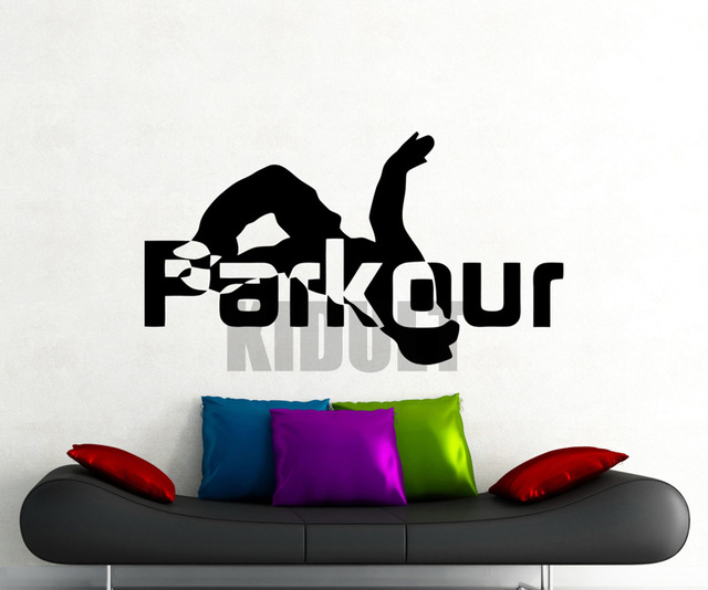 Creative Parkour Wall Decals Sports Figure Flag Pattern Wallpaper Cool Running Family Room Art Deco