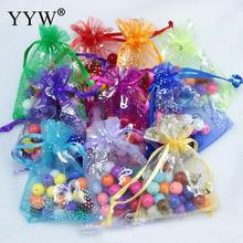 YYW 100pcs Drawable Organza Bags Mix Color Wedding Christmas Gift Bags Candy Jewelry Packaging Organza Bags