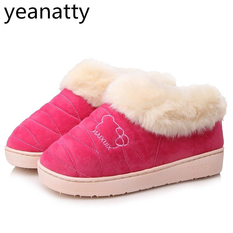 Winters Women And Men Indoor Slippers Warm Plush Ladies Shoes Lovers Shoes Home Floor Bedroom Slippers