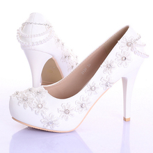 White Lace Flower Bridesmaid Shoes 4 Inches Stiletto Heel Women Platforms Spring And Summer Beautiful Formal Dress Shoes