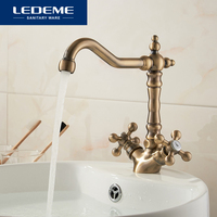 LEDEME Fashion Europe Style Kitchen Faucet Total Brass Bronze Finished Swivel Kitchen Mixer Tap Sink Tap