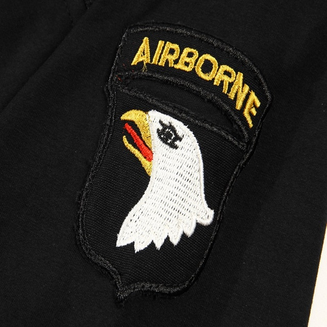 Airborne Men's Tshirt Military Style Army Leisure with Epaulets Short Sleeve Tactical T Shirt Uniform Male T-shirt Fashion 2020