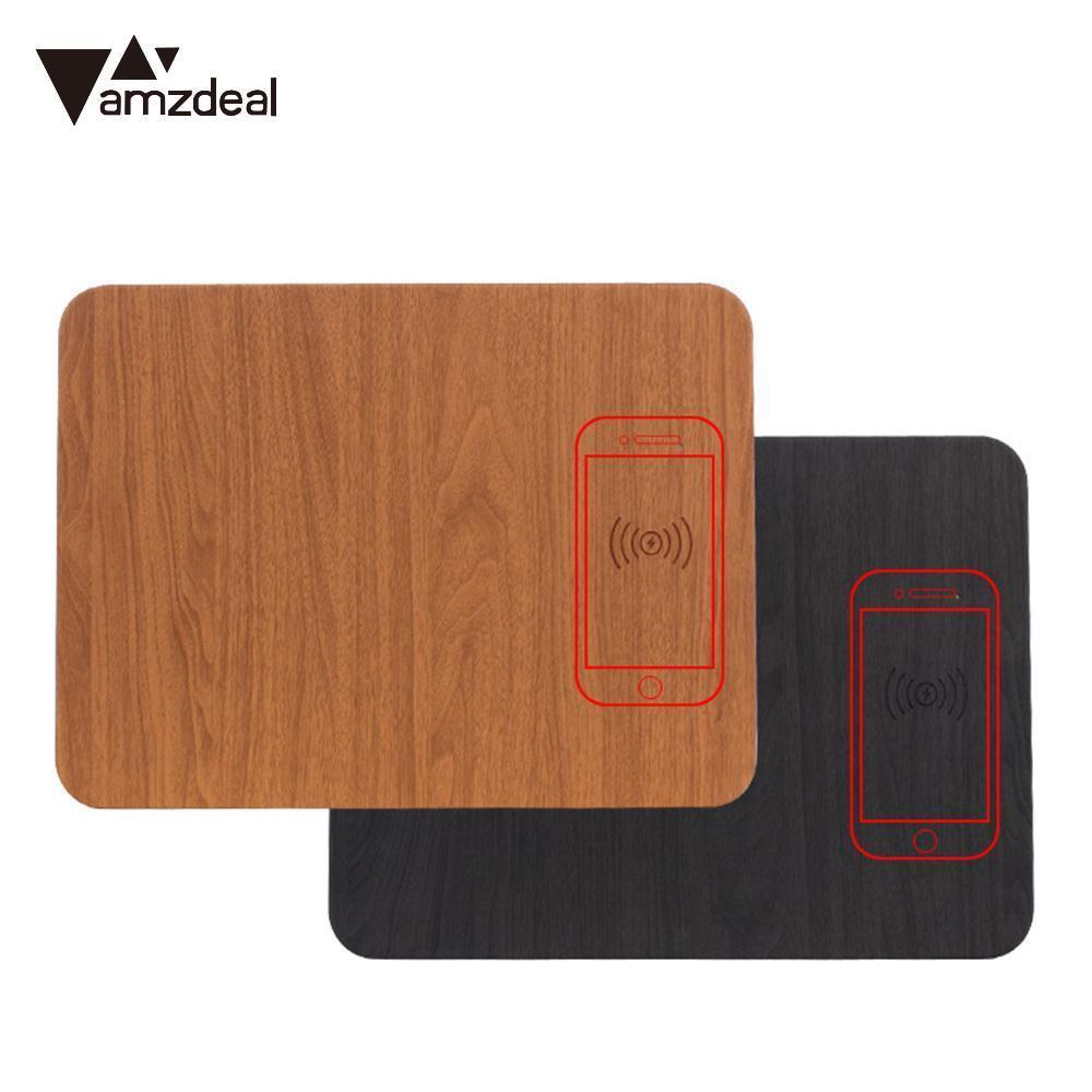 AMZDEAL QI Wireless Charger Mouse Pad PU Leather Multifunctional Mousepad Wireless Charging Dock for iPhone Samsung