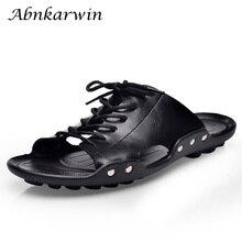 Мужские кожаные шлепанцы на плоской подошве; Летняя повседневная обувь; Удобные однотонные шлепанцы; Цвет черный, коричневый