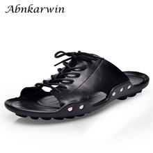 Outside Flat Slides Men Leather Slippers Summer Casual Shoes Slipper Solid Black Brown Comfortable