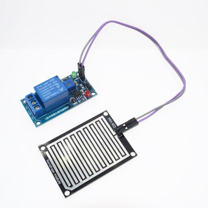 Regen wasser sensor modul + DC 12 V Relaissteuermodul Regen Sensor Wasser Regentropfen Detektionsmodul für Arduino robot kit