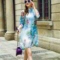 2017 Новое лето повседневная длинные блузки рубашки печати Цветочные кимоно женщины blusa топы шифон блузка