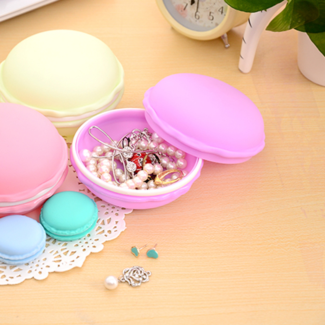 Top Sale Sweet Small Storage Box Candy Color For Jewelry Earring Outing Storage Boxes