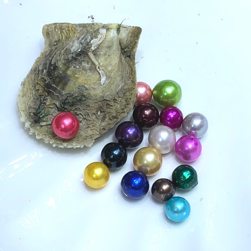 Akoya Oysters with Single Edison Round Pearls Beads Inside 9 12 mm Mixed 26 Colors Edison