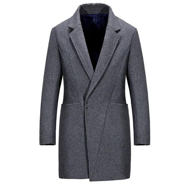 Alta calidad recién llegado de europa moda de abrigo abrigo de hombre delgado cuello vuelto de lana trinchera abrigos