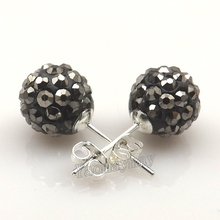 7c68c3208 Valentines Love Gift Hematite Color Disco Balls Crystal Earring Studs 24  Pairs Free Shipping(China