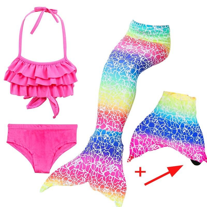 Girls Mermaid Tails Bra Shorts Dress Monofin Swimsuit Cosplay Kids Children Mermaid Tail Swimming Wear Flipper Costume Clothing