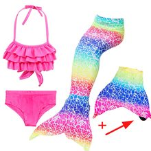 Girls Mermaid Tails Bra Shorts Dress Monofin Swimsuit Cosplay Kids Children Mermaid Tail Swimming Wear