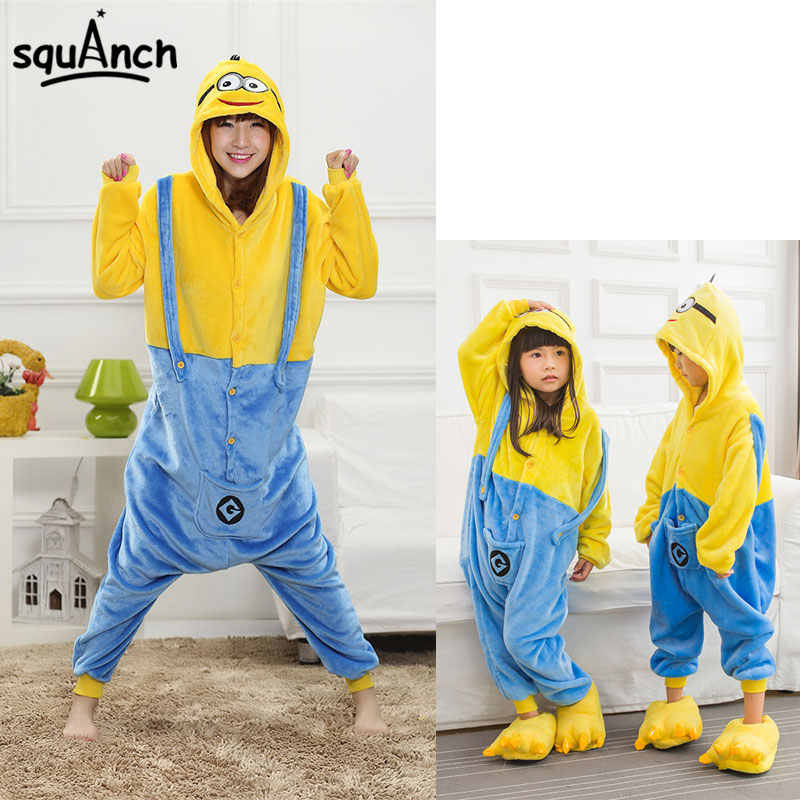 Kawaii Minions Kugurumi Men Women Children Onesie Cartoon Anime Pajama Festival Party Home Overall Winter Flannel Warm Jumpsuit