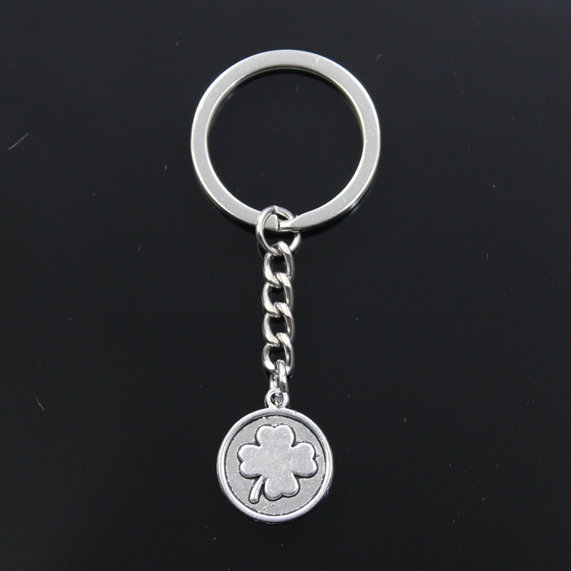 Lucky Irish Four Leaf Clover 21x18mm Pendant 30mm Key Ring Metal Chain Silver Color Men Car Gift Keychain Dropshipping