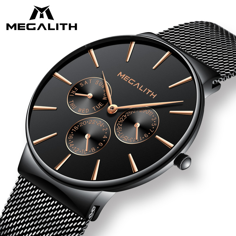 MEGALITH Watch Men Black Steel Strap Mesh Bracelet Quartz Watches Gents Waterproof Date Calendar Thin Design Sport Wrist Watches megalith quartz watches mens waterproof chronograph calendar silver stainless steel wrist watch gents sport business men s watch