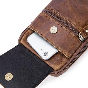 Image 5 - WESTAL Bolsa de mensajero con cinturón de Bolsos de cuero auténtico para hombre, Bolso pequeño de cintura, a la cadera, estilo cruzado, 1024