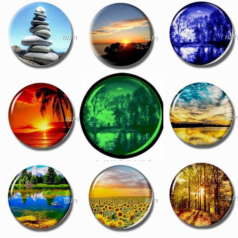 Beautiful Natural Scenery 30 MM Magnet Fridge Glass Dome Luminous Refrigerator Magnets Magnetic Stickers for Fridge DIY Gifts
