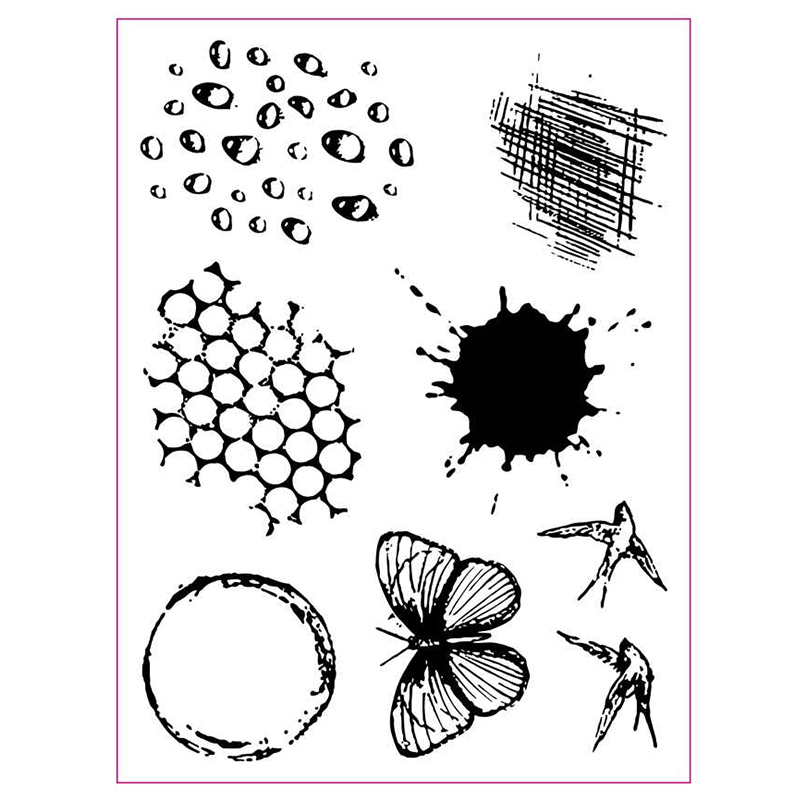 Waterdrops Circle Shadow Swallow Butterfly Transparent Stamp Clear Stamps for DIY Scrapbooking Paper Cards Crafts New 2019